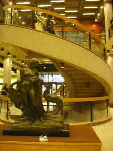 The Naked Lady (common meeting place) and staircase in the library